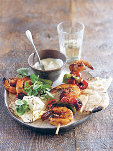Barbecue Prawns marinated in chilli and soy