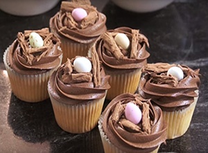 Birds nest chocolate cupcakes