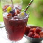 Blackberry ruby orange gin fizz cocktail