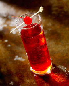 Cherry fizz cocktail