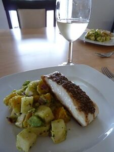 Coriander and cumin crusted halibut