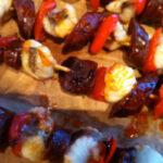 Monkfish chorizo skewers