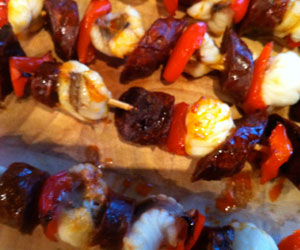 Monkfish chorizo skewers