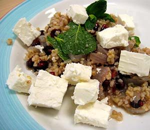 Pomegranate feta bulgur wheat
