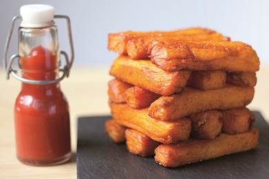 Triple cooked sweet potato fries